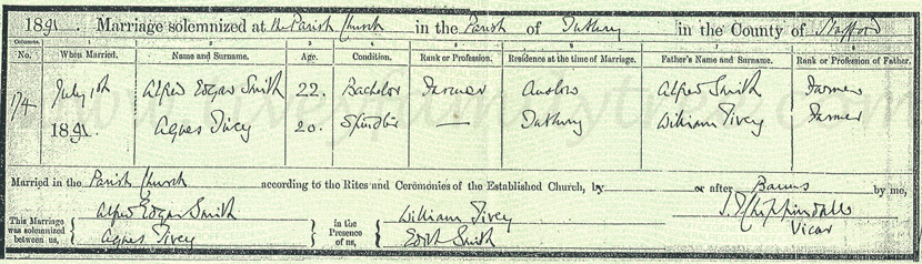 Agnes-Tivey-and-Alfred-Edgar-Smith-Marriage-Certificate