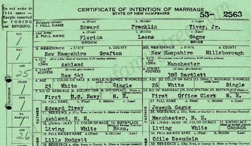 Edward-Franklin-Tivey-and-Florida-Leona-Gagne-Marriage-Certificate