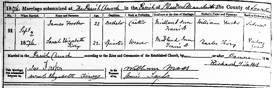 Sarah Elizabeth Tivey and James Forster Marriage Certificate