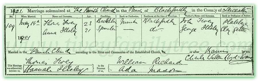 Thomas-Tivey-and-Hannah-Illsley-Marriage-Certificate