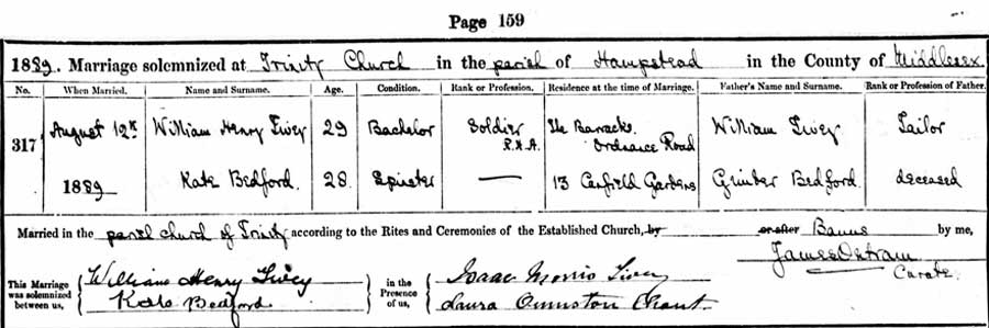 William Henry Tivey and Kate Bedford Marriage Certificate